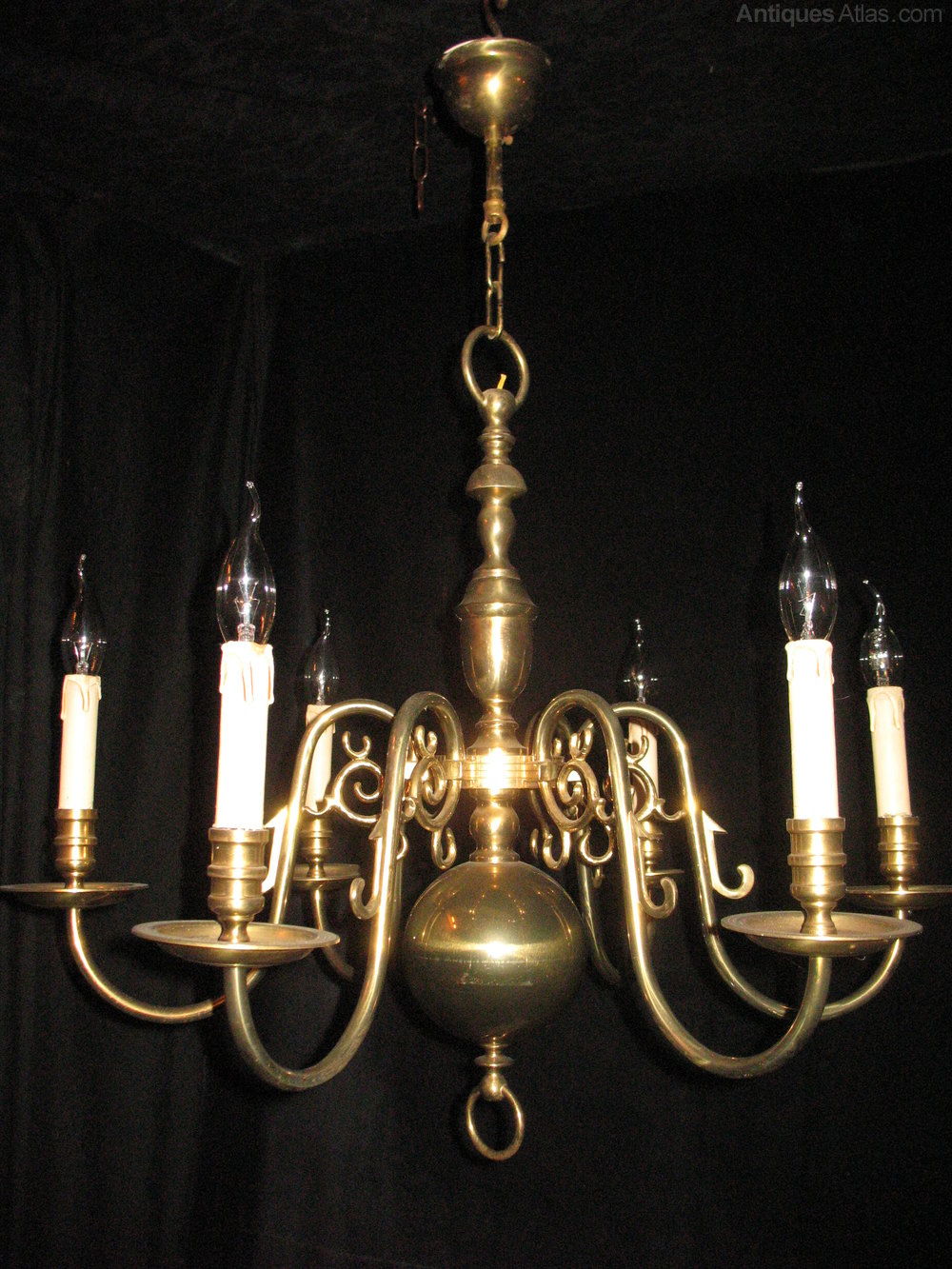 Here We Have A Very Good Quality Pair Brass Flemish Six Light Chandeliers They Aged Well Over The Years And Now Colour Patina