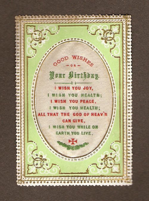 Victorian Silk Birthday Card - Circa 1880s