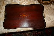 Antique Inlaid Mahogany Tray