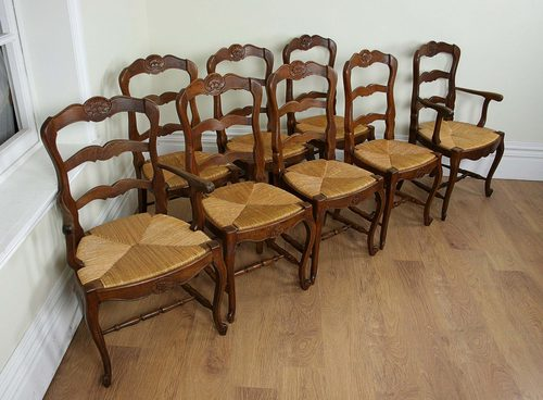 Antique ladder back chairs with rush seats - French Oak Ladder Back Dining Chairs C 1910 Antiques Atlas