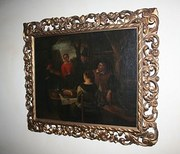 Antique Dutch Tavern Scene Oil