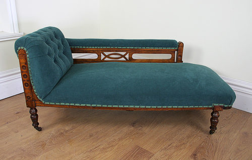 Edwardian walnut rail back chaise longue for Amazon uk chaise longue