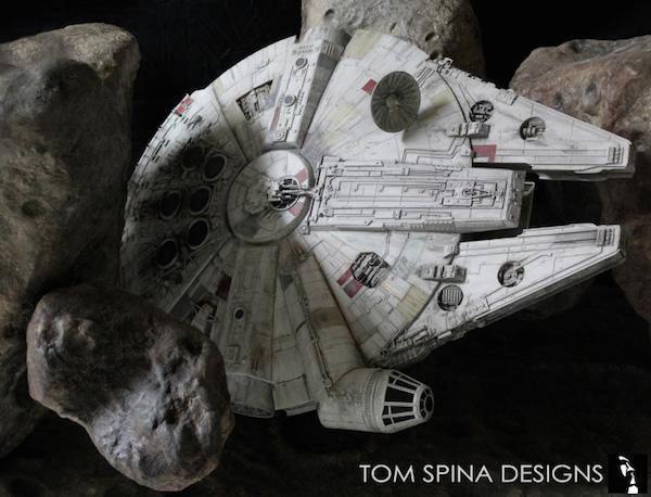 A collectors dream Millennium Falcon asteroid coffee table