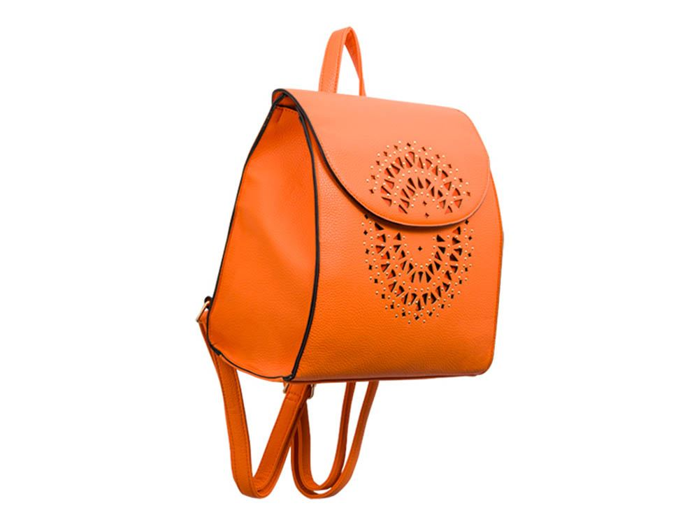 New Laser Cut Decoration Studded Faux Leather Ladies Fashion Backpack