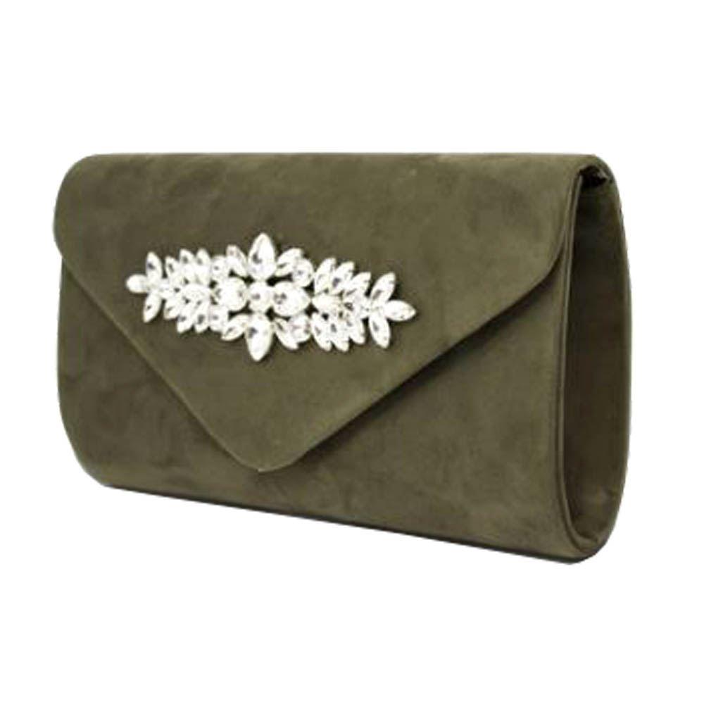 New Faux Suede Large Diamante Decoration Ladies Party Clutch Bag Handbag