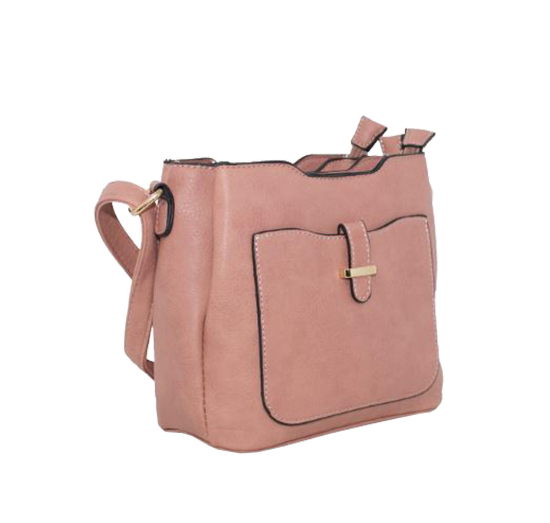 New Ladies Triple Compartments Faux Leather Chic Crossbody Bag Handbag