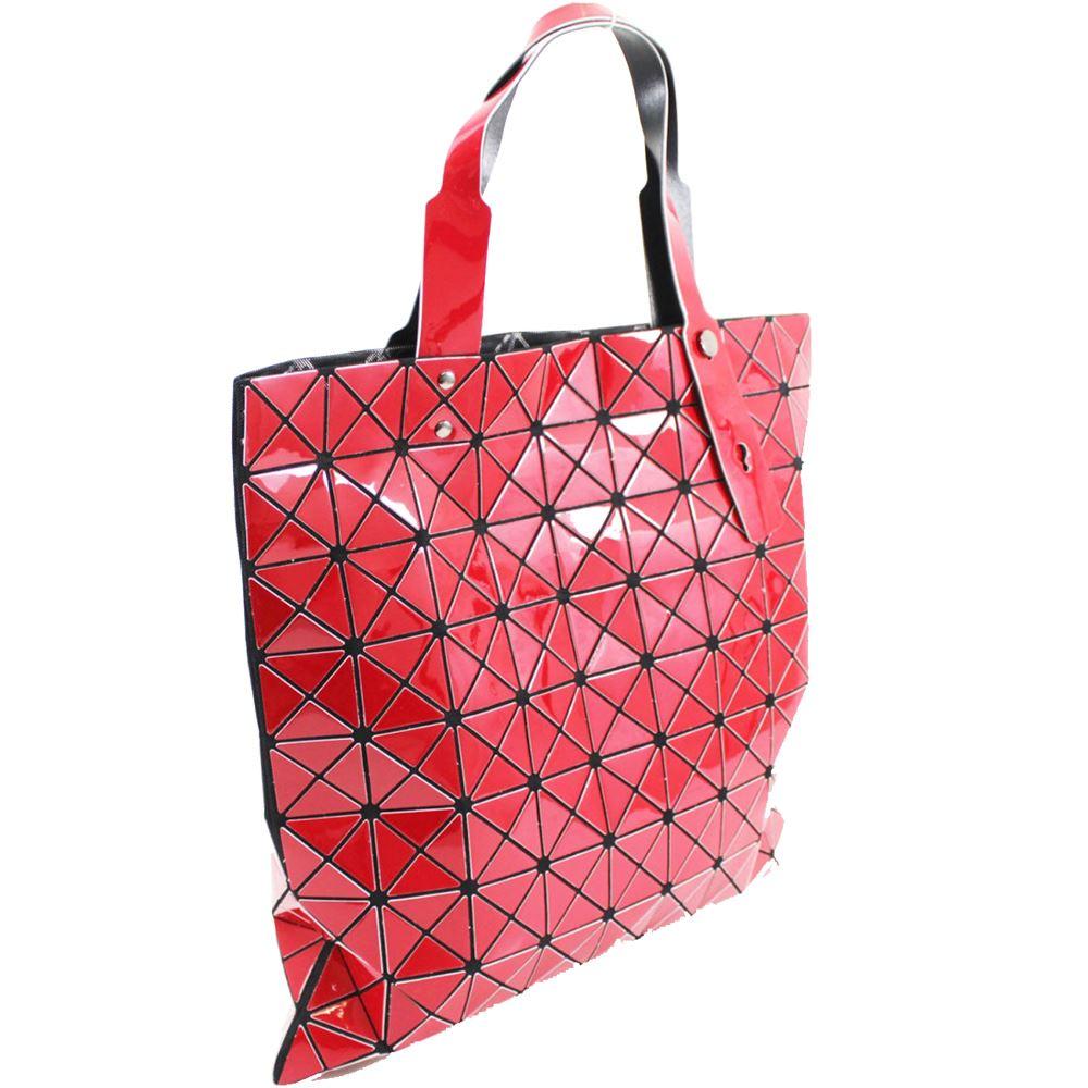 New Women's Big Glossy Geometric Design Modern Style HandBag Shopping Bag