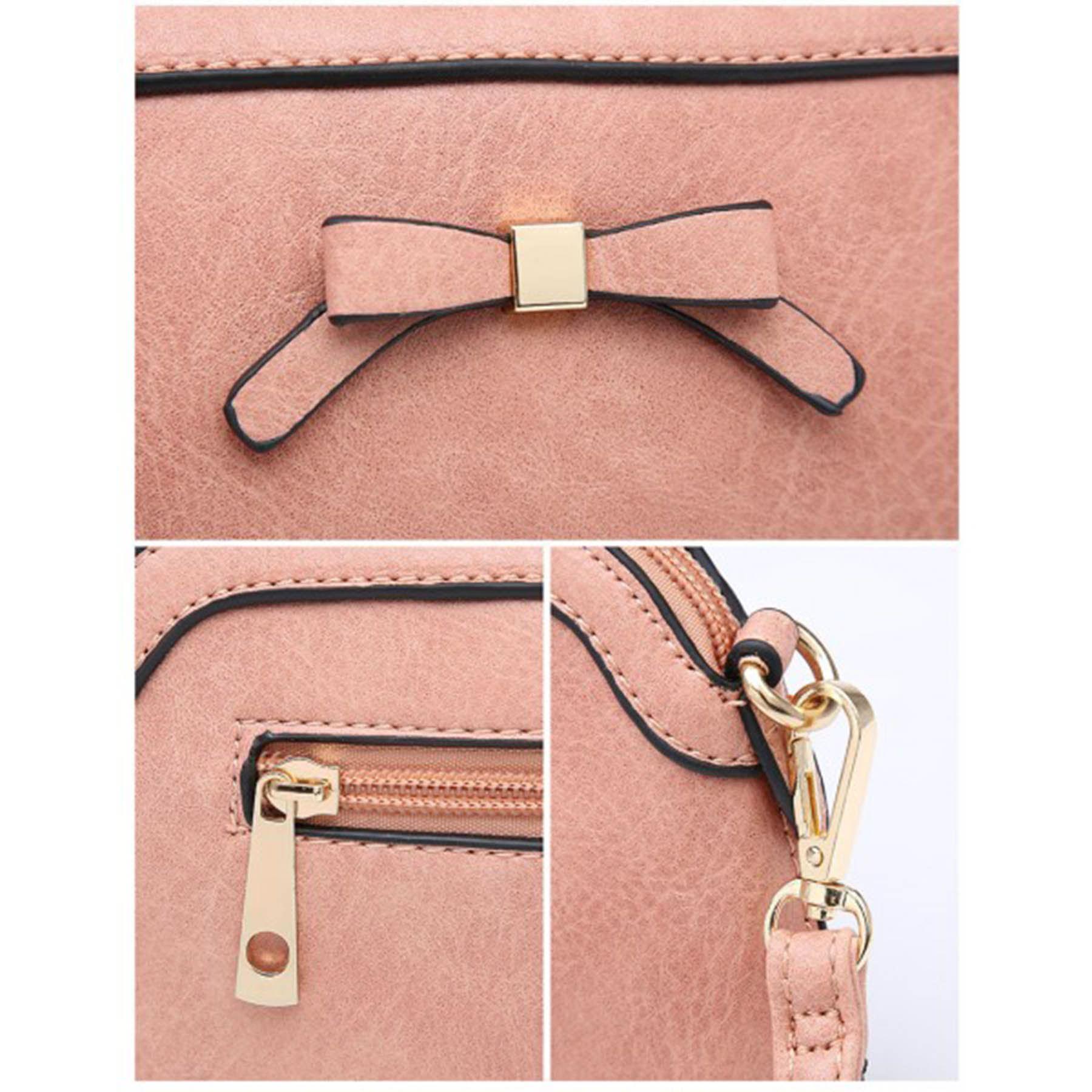 New Cute Bow Detail Faux Leather Ladies Small Crossbody Bag Handbag