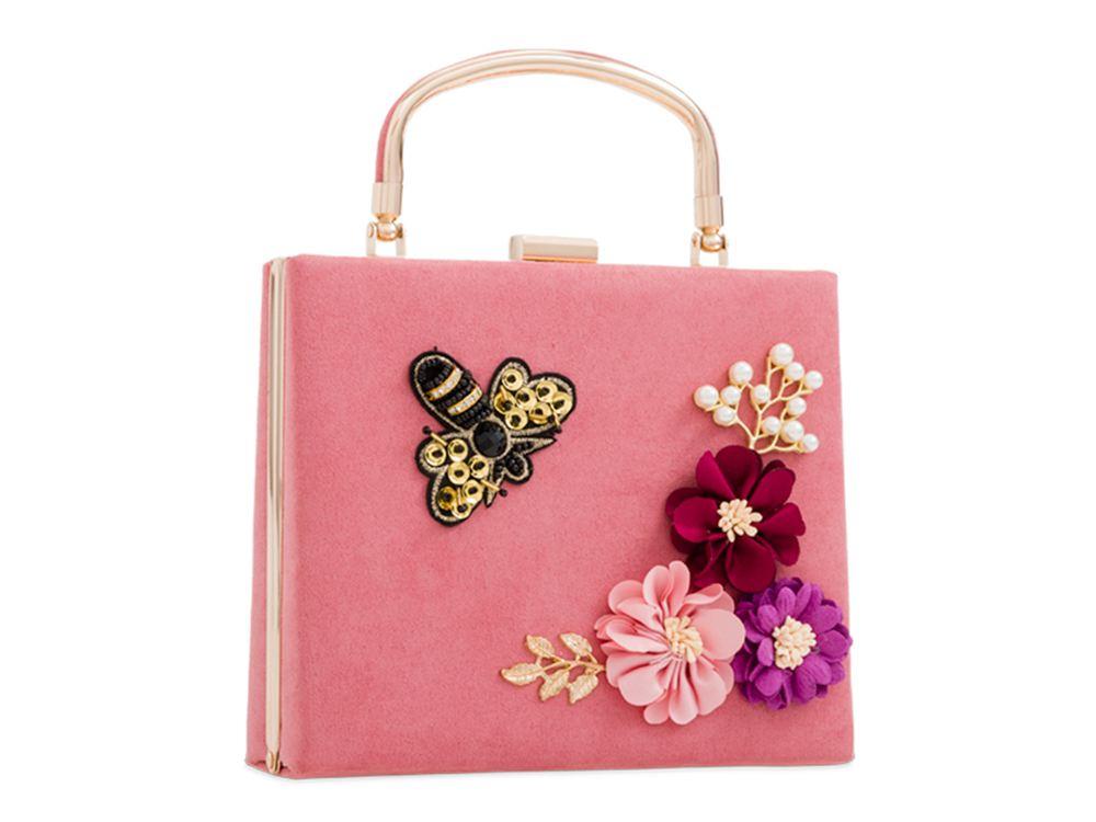 New Top Handle Hardcase Faux Suede Floral Bee Detail Ladies Evening Handbag