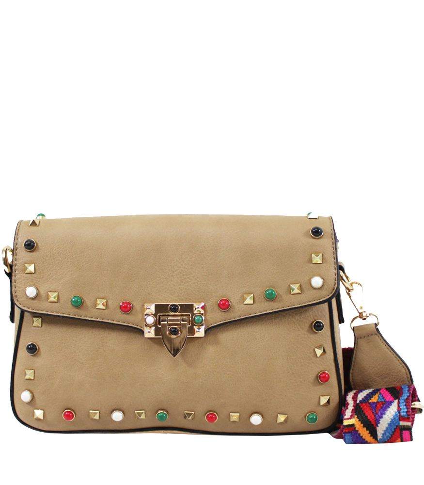 LADIES NEW FAUX LEATHER COLOUR STUDS AZTEC STRAP SMALL CROSSBODY BAG