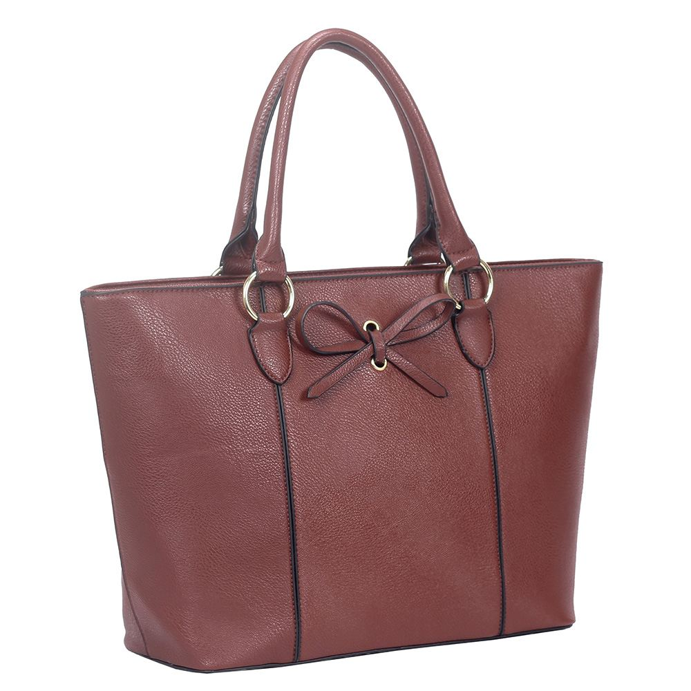 NUOVO in finta pelle con fiocco decorazione Donna Large Shoulder Tote Bag