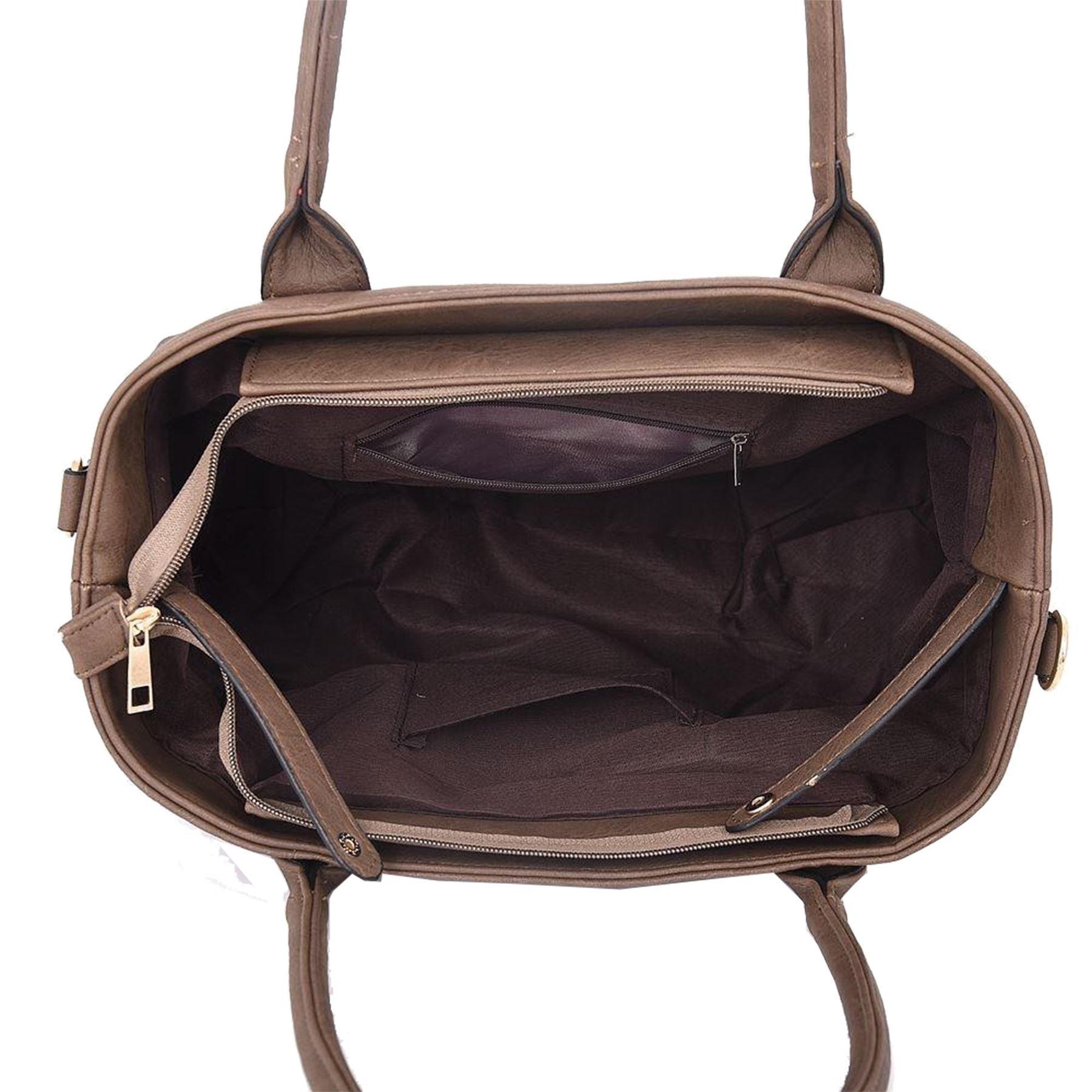 New Women's Plain Flower Design Faux Leather Detachable Strap Tote bag