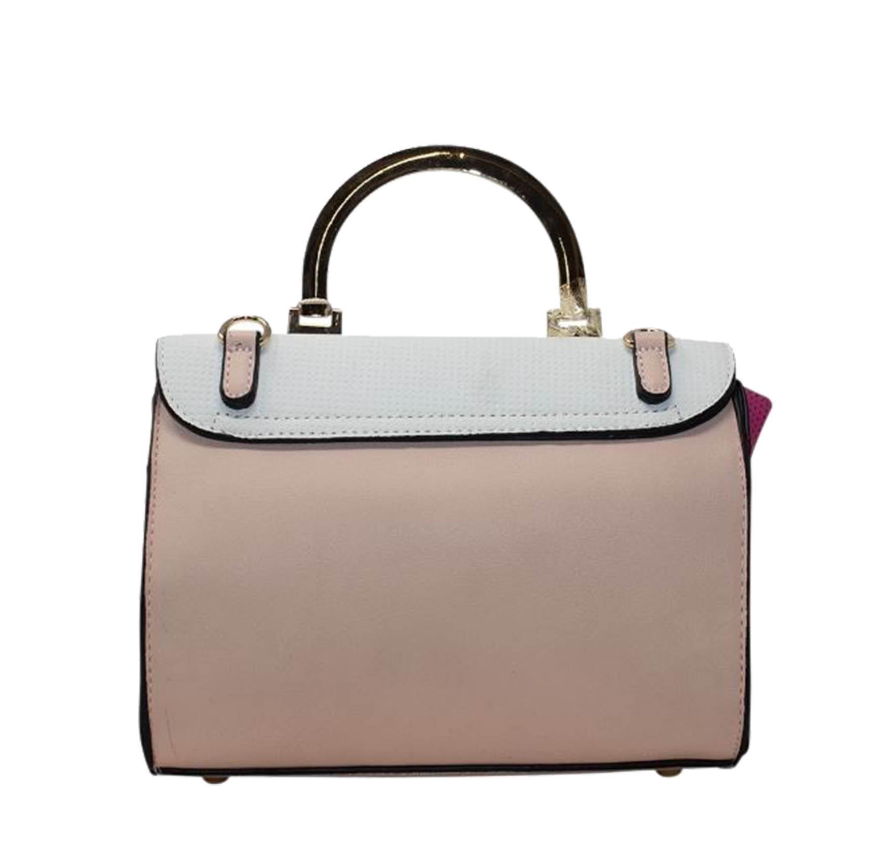 New Faux Leather Multi-Toned Padlock Ladies Tote Bag Handbag