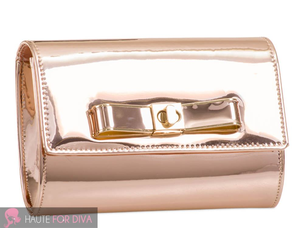 NEW WOMEN'S GOLDEN CHAIN STRAP BOW DETAIL PATENT LEATHER CLUTCH SHOULDER BAG