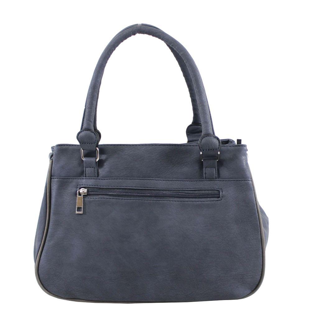 New Front Zipped Pockets Faux Leather Ladies Handbag Crossbody Bag