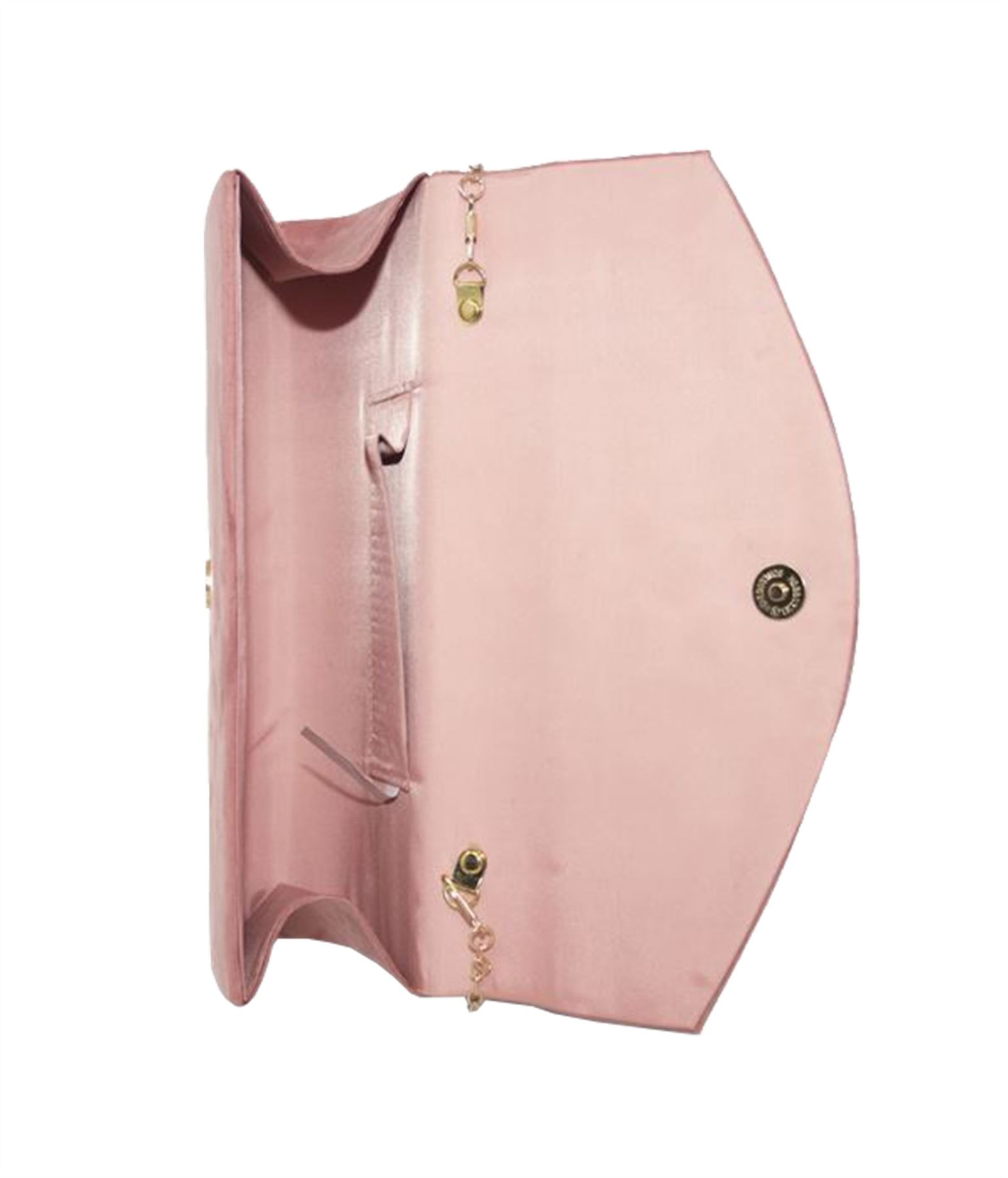 New Ladies Plain Velvet Curved Flap Wedding Prom Clutch Bag Purse