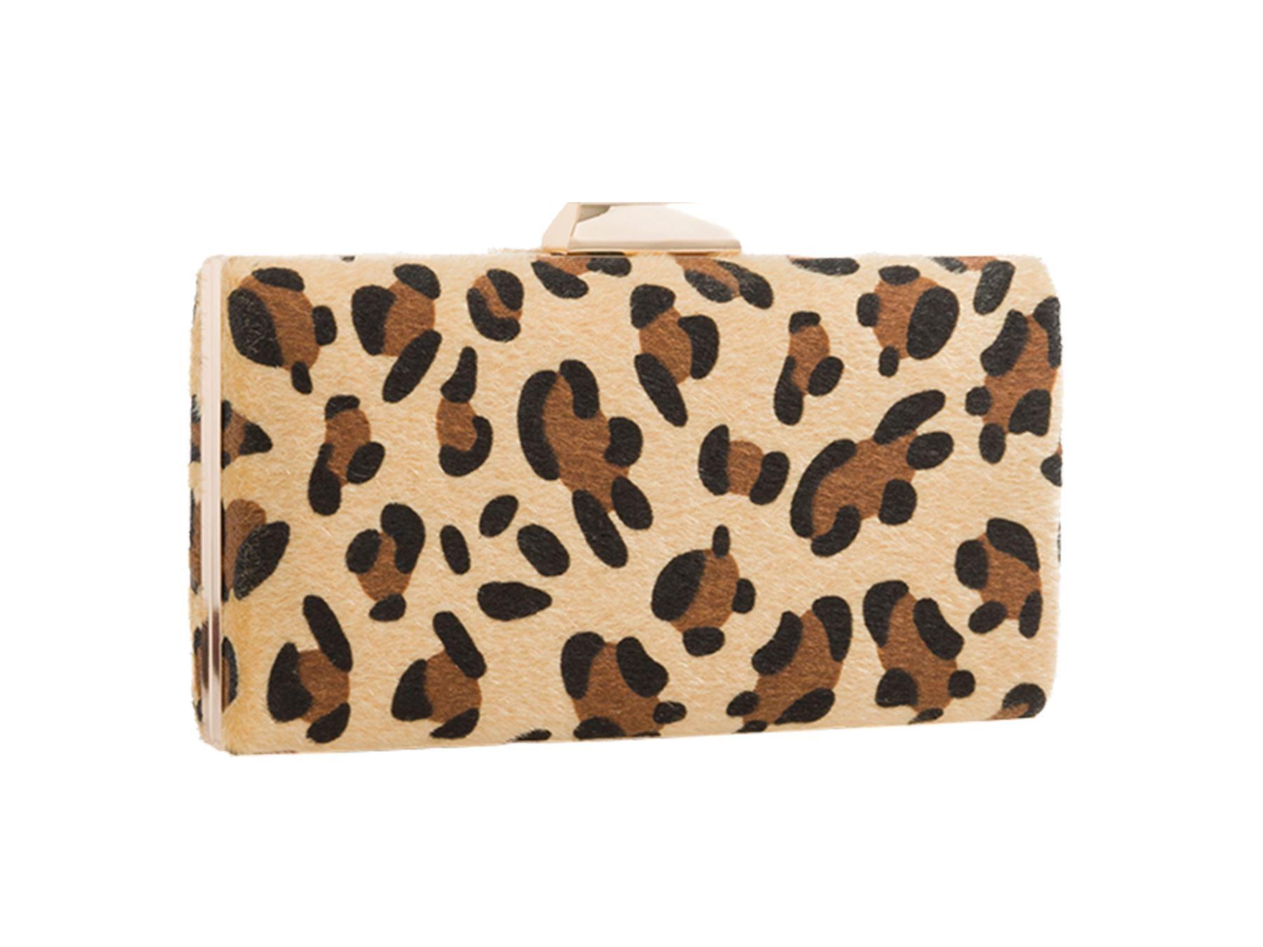 New Ladies Leopard Print Design Compact Gold Chain Buckle Clutch Bag