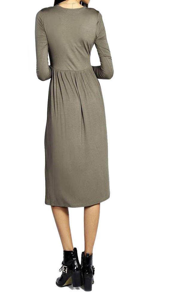 NUOVI Donna Manica Lunga Ginocchio semplice Stampato Swing Skater Dress Plus Size