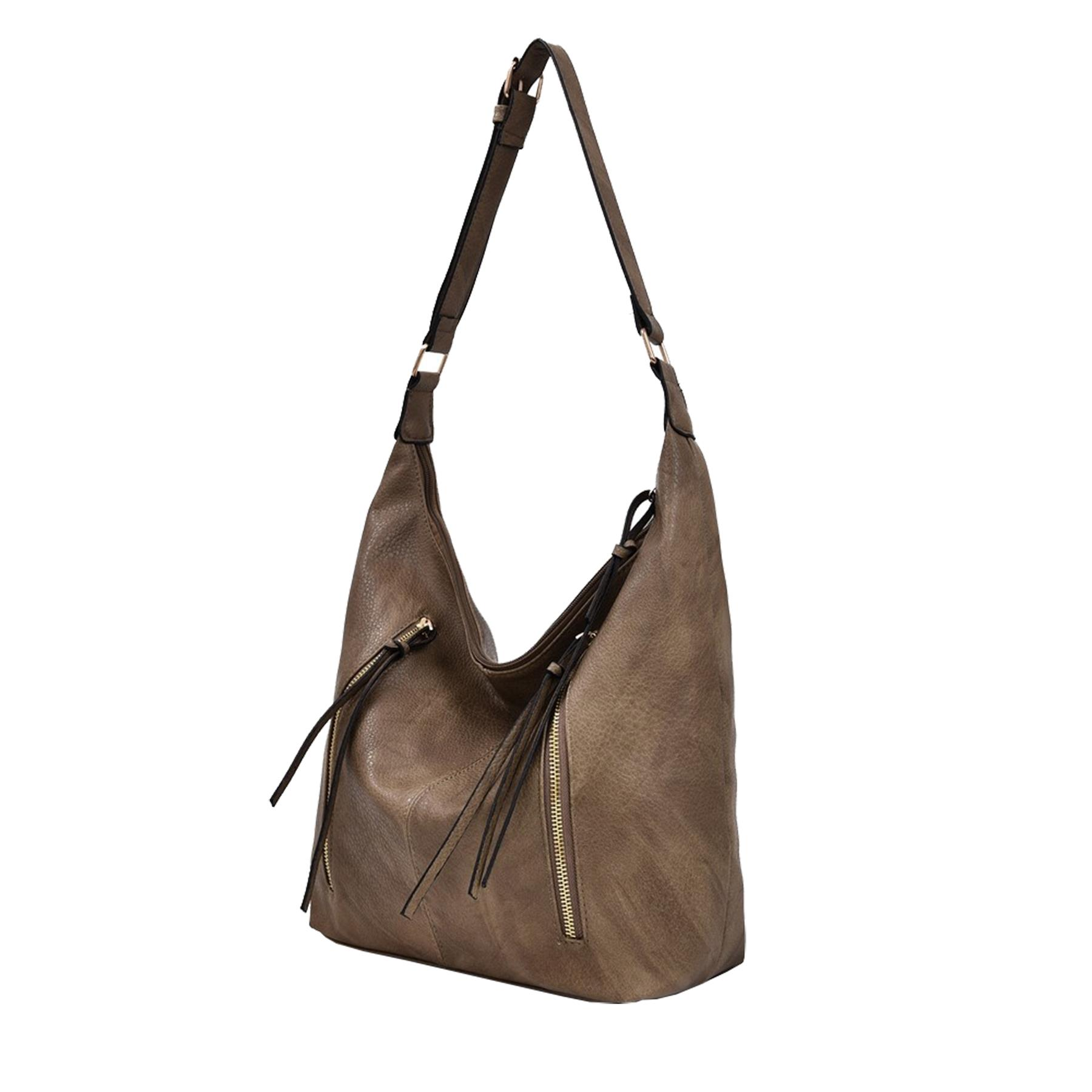 New Synthetic Leather Double Tassel Zip Ladies Casual Slouchy Shoulder Bag