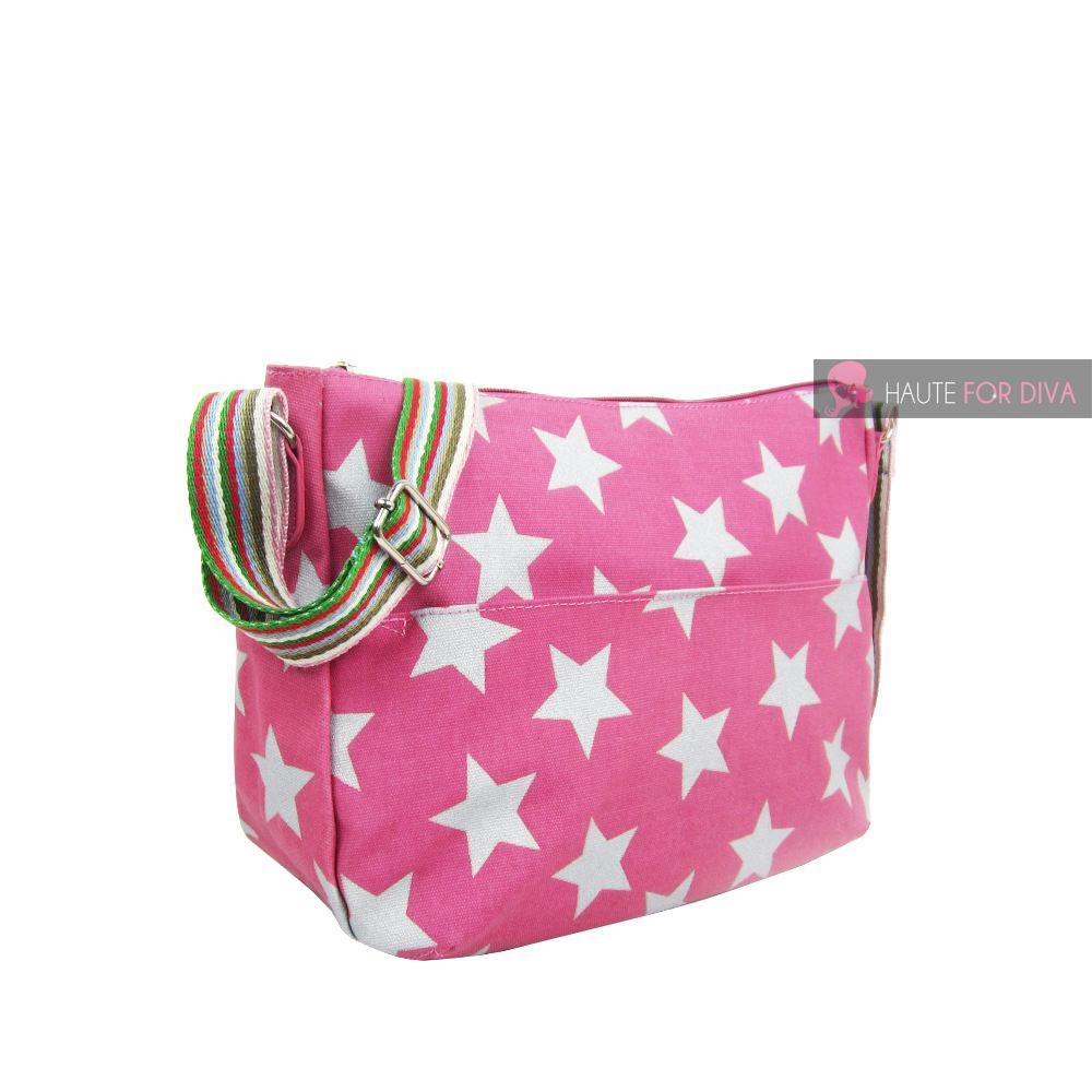 NEW WOMENS STAR PRINTED CANVAS CROSSBODY SHOULDER BAG HANDBAG