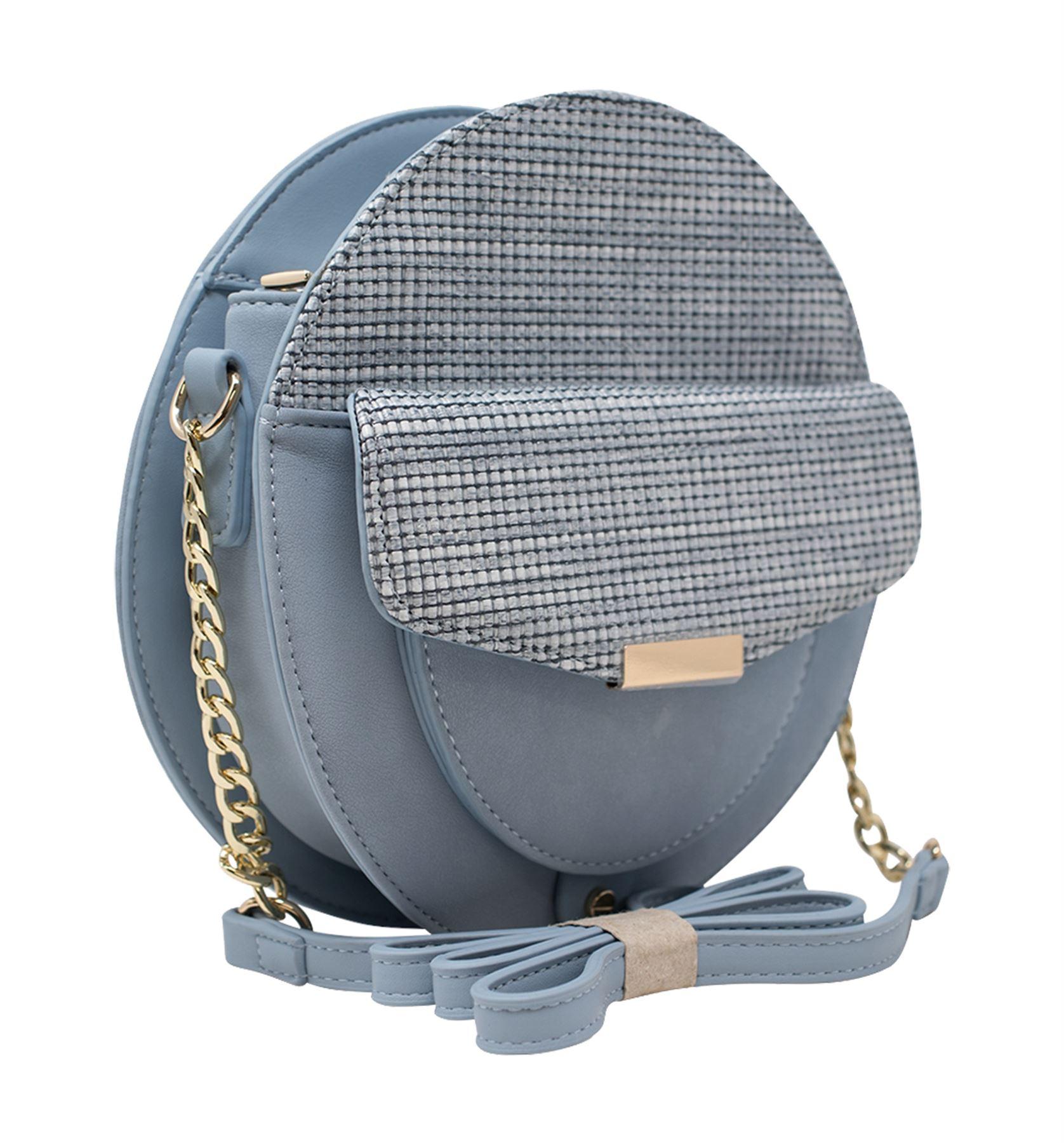 New Ladies Round Front Mini Pocket Long Chain Strap Fashion Crossbody Bag