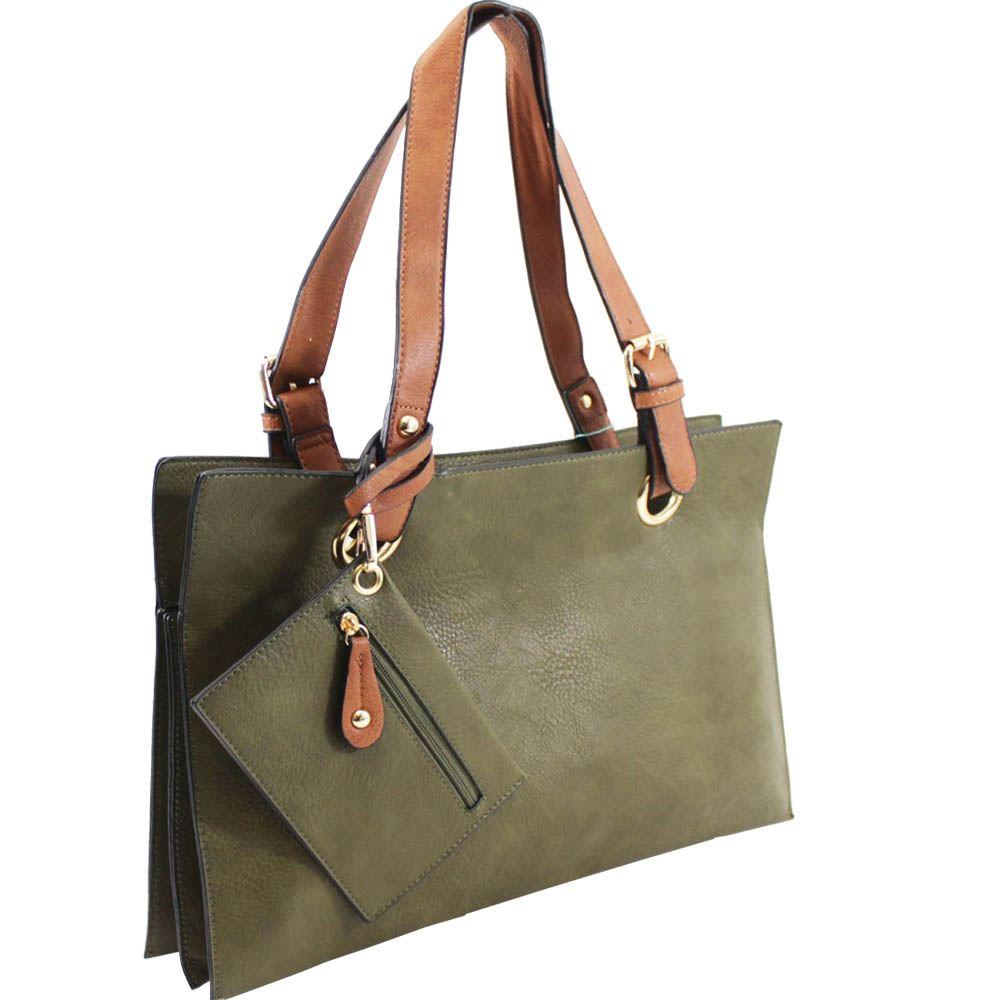New Ladies Faux Leather Detachable Purse Two Toned Shopper Shoulder Bag