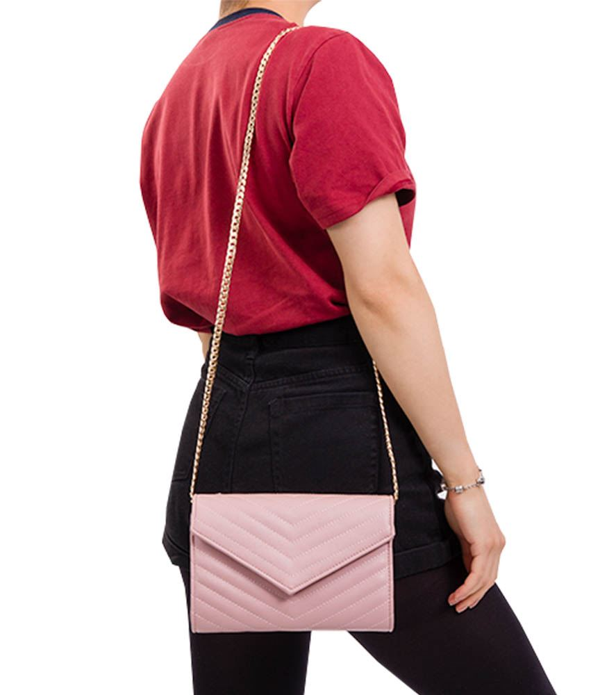 LADIES NEW FAUX LEATHER QUILTED CHAIN STRAP EVENING CLUTCH SHOULDER BAG