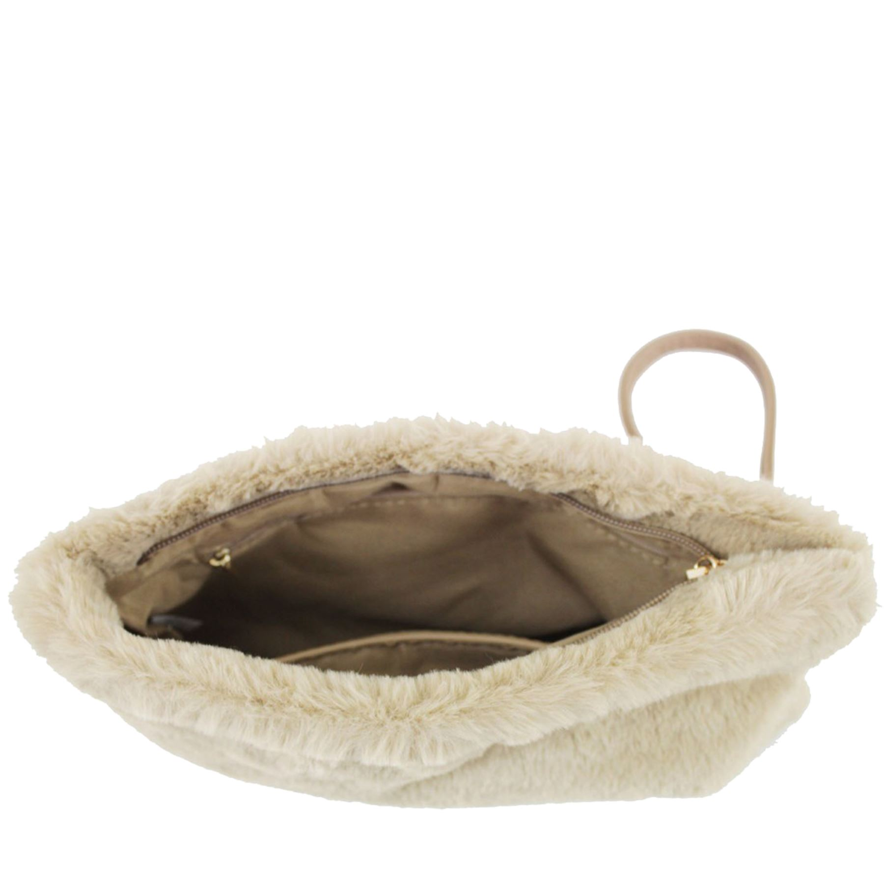 New Synthetic Fur Wrist Strap Inner Pockets Ladies Clutch Bag Purse