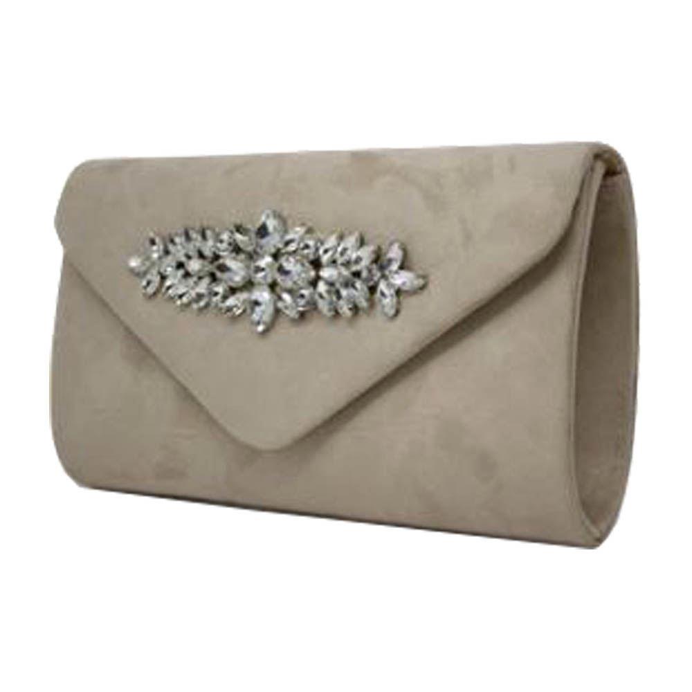 New Crystal Embellishment Faux Suede Ladies Wedding Clutch Bag Purse