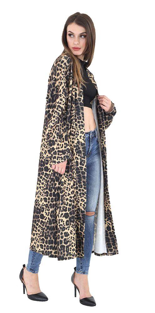 New Ladies Long Sleeve Open Front Animal Print Tartan Crepe Cardigan UK 8-26