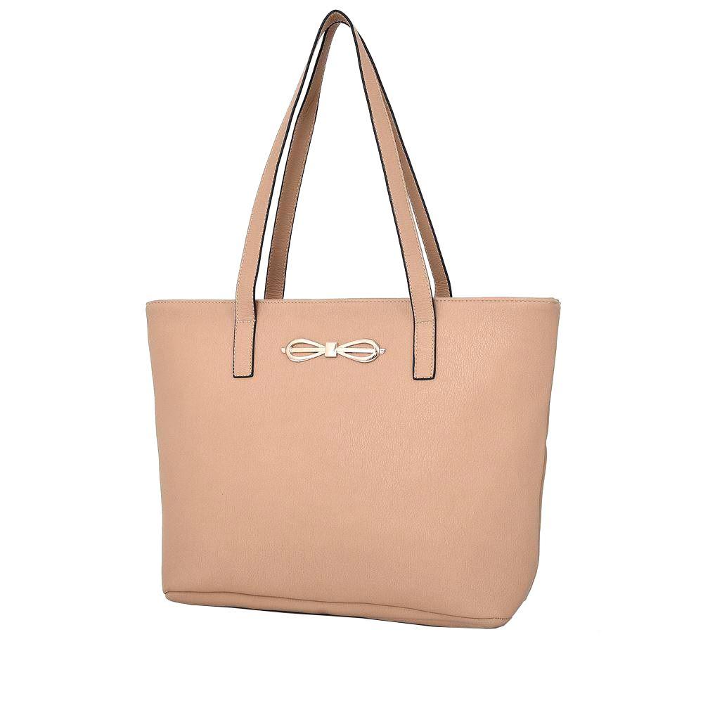 New Ladies Large Shopper Bag Faux Leather Adornment Bow Handbag