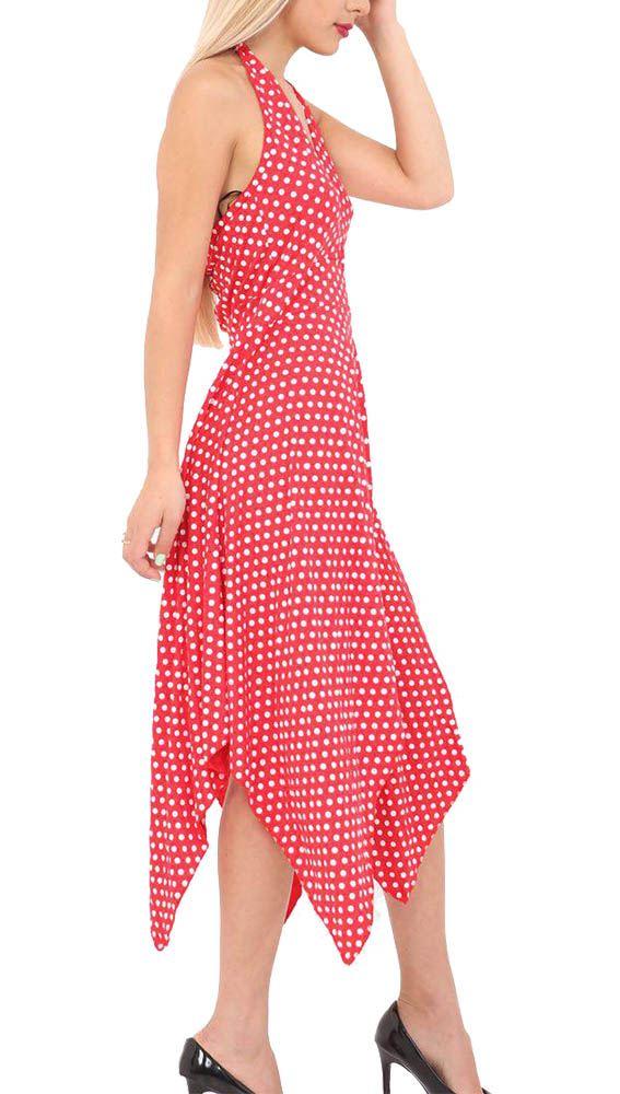 New Printed Polka Dot Halter Neck Ladies Backless Hanky Hem Dress UK 8-26