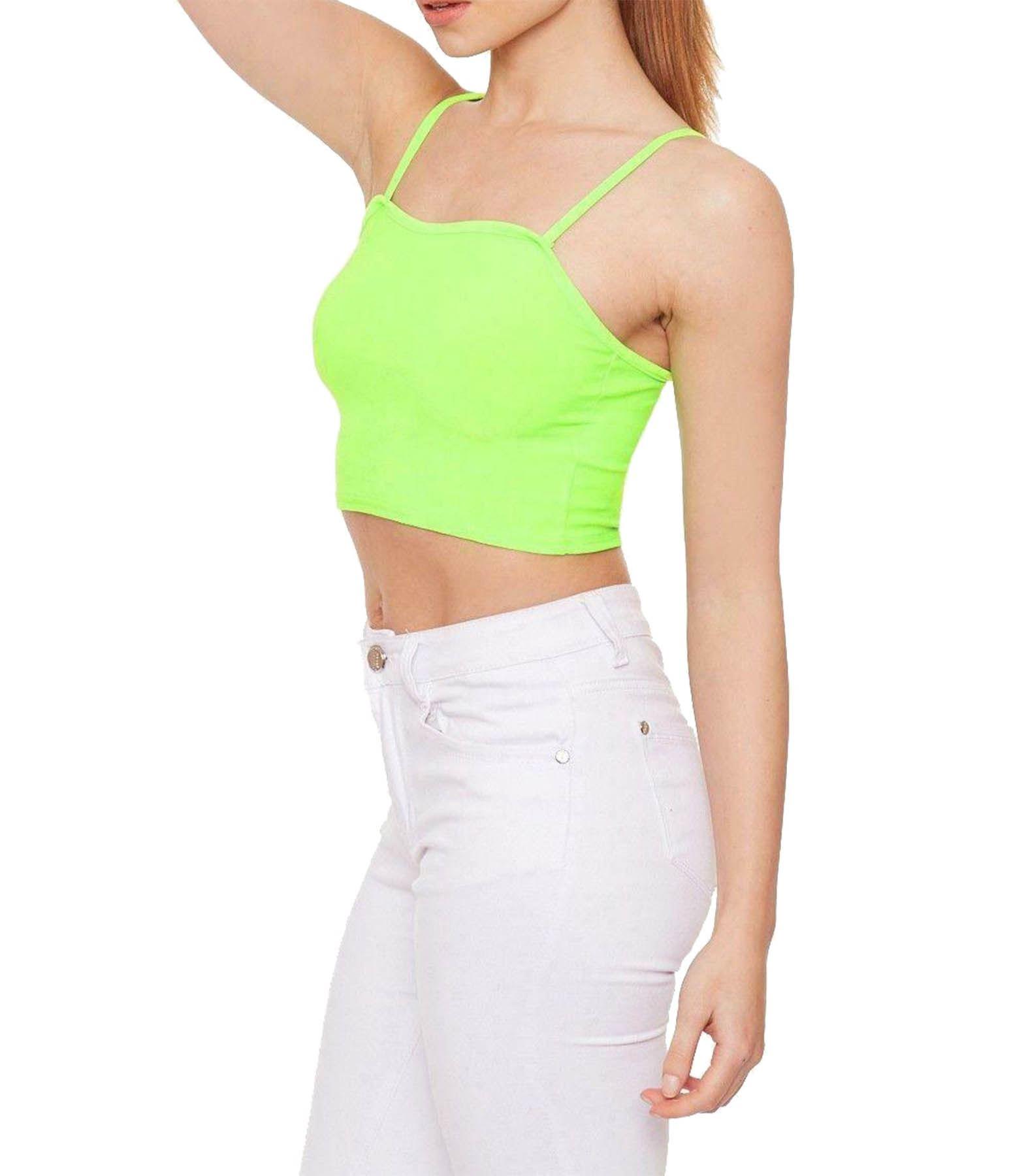 Women's Plain Strappy Sleeveless Cropped Vest Top Bralet Gym