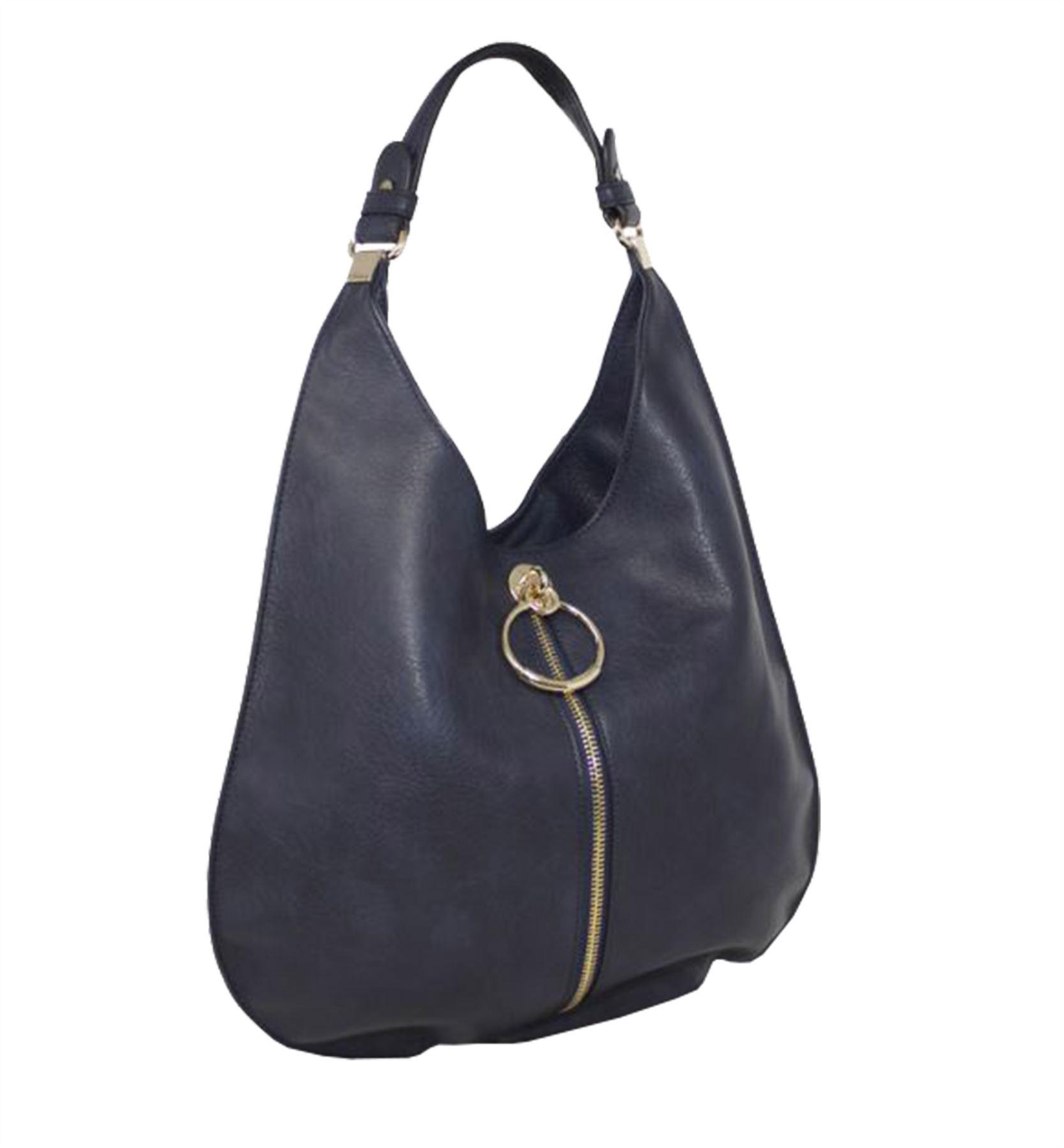 New Faux Leather Hoop Zip Detail Ladies Fashion Hobo Shoulder Bag