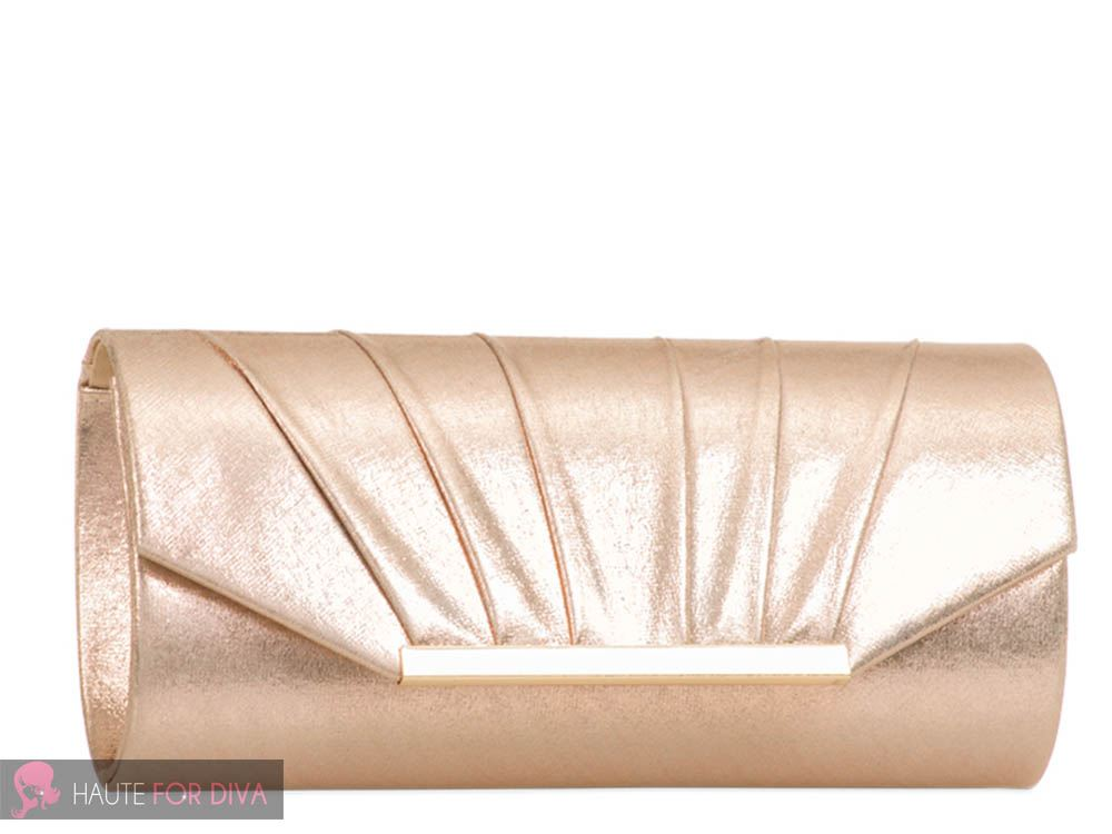 WOMENS LADIES SHINY PLEATED FAUX LEATHER CHAIN STRAP EVENING PARTY CLUTCH BAG