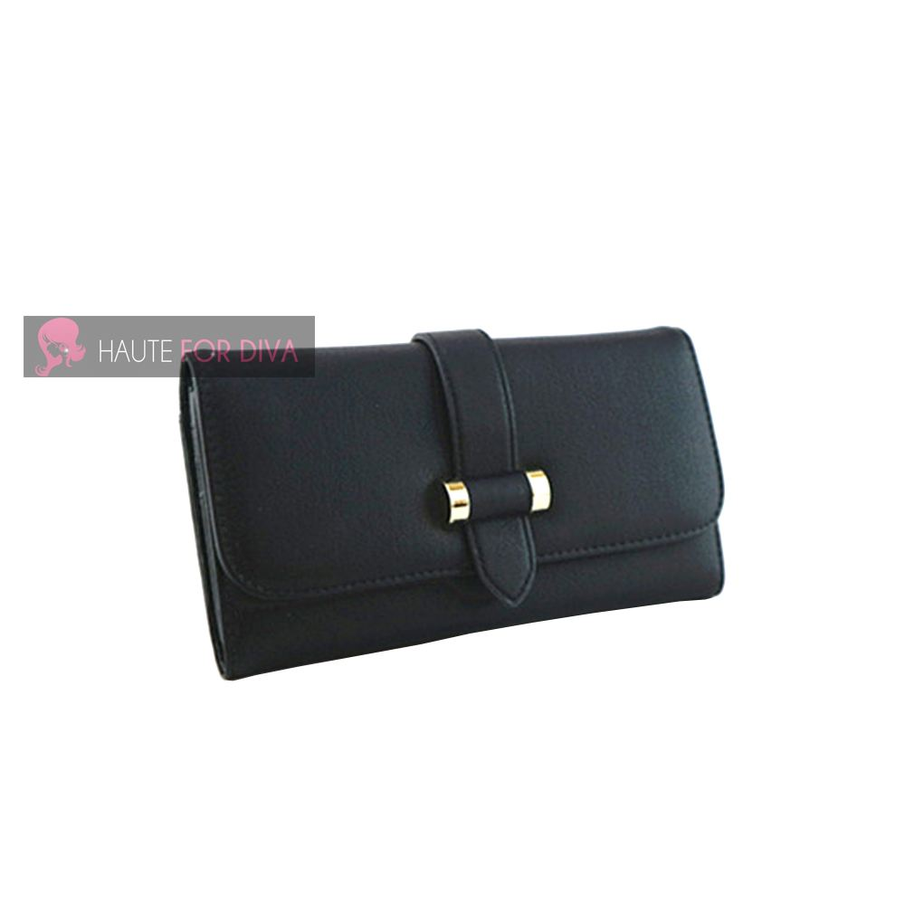 WOMENS NEW FAUX LEATHER STRAP DETAIL CARD SLOTS PHOTO WINDOW WALLET PURSE