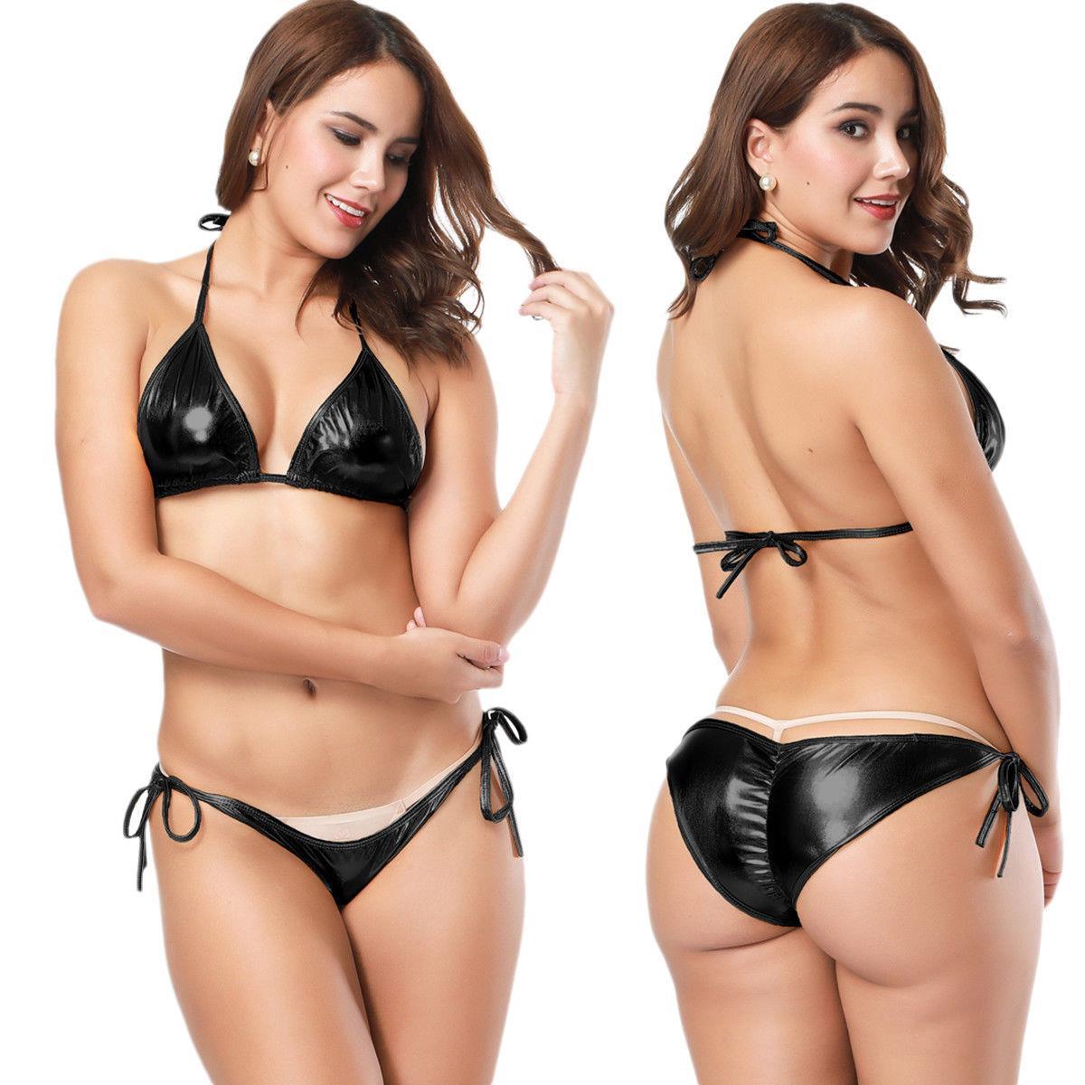 Women Sexy//Sissy Wet Look Bikini Swimwear V Neck Lingerie Beachwear