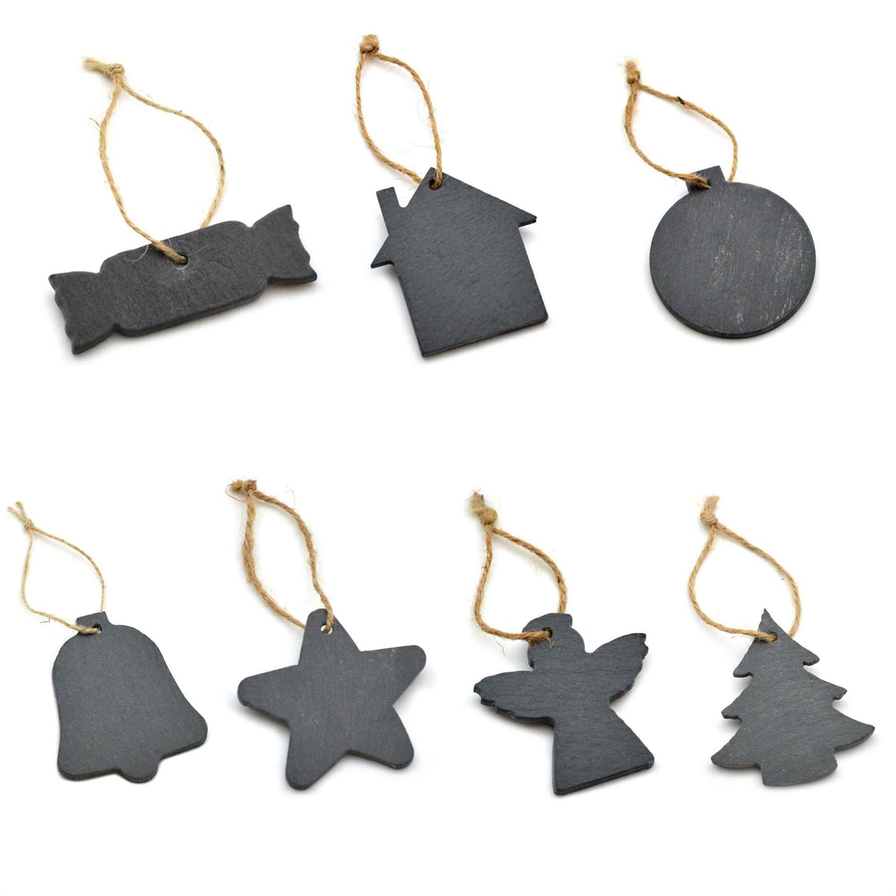Christmas Tree Decorations Hanging Slate With Vintage Rope Santa Bauble