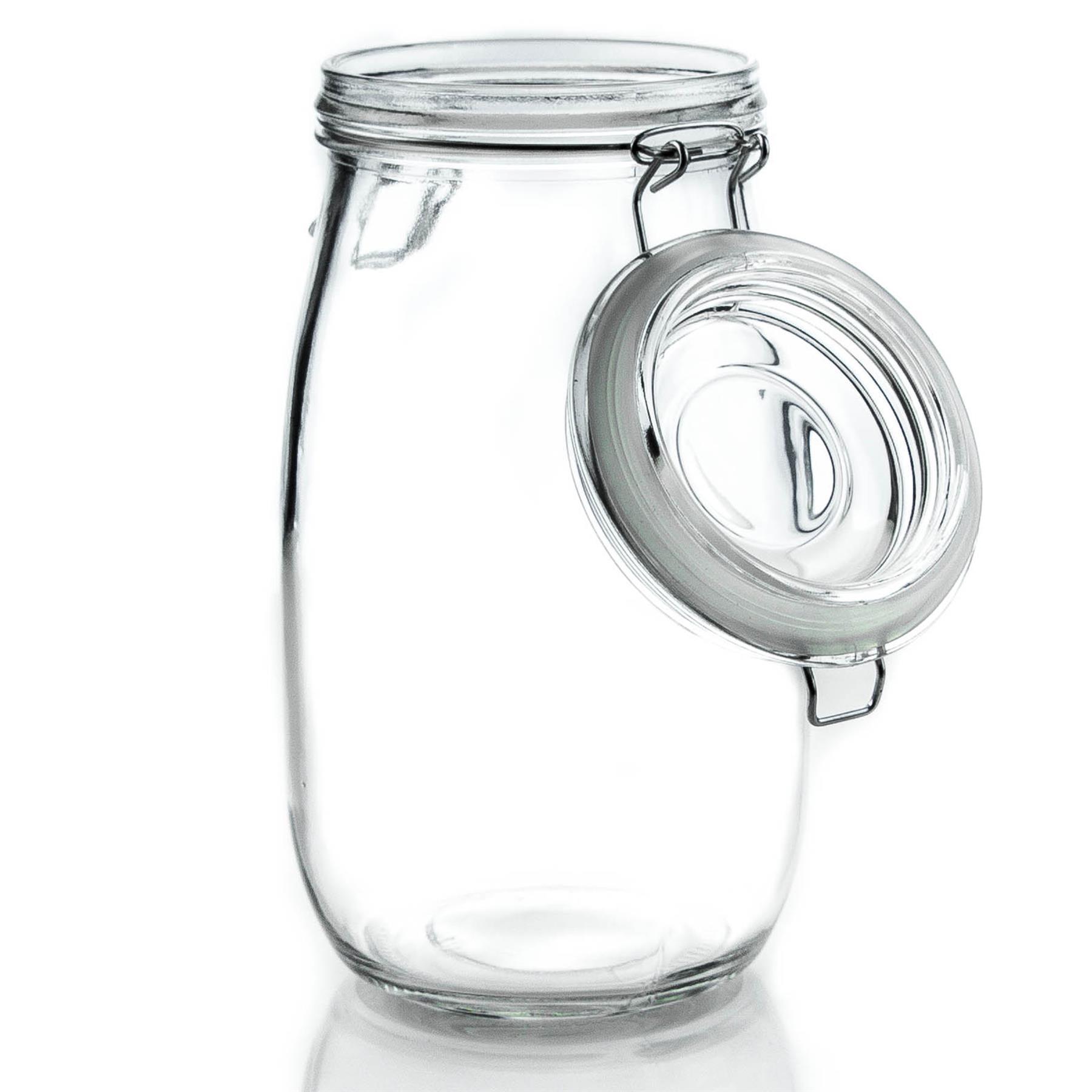 Food Preserve Preserving Jar Pack of 6 Heart Design Glass Storage 1.5L