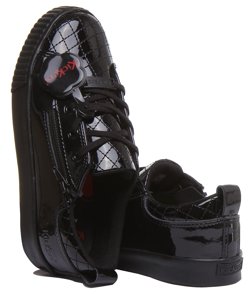 Kickers Tovni Zip Quilt Quilted Shoes With Side Zip In Black Size UK 12-4