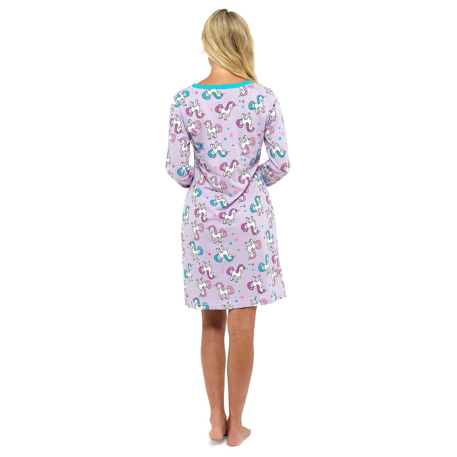 Womens Pug Unicorn Novelty Printed Long Sleeved Nighties UK Sizes 8-22