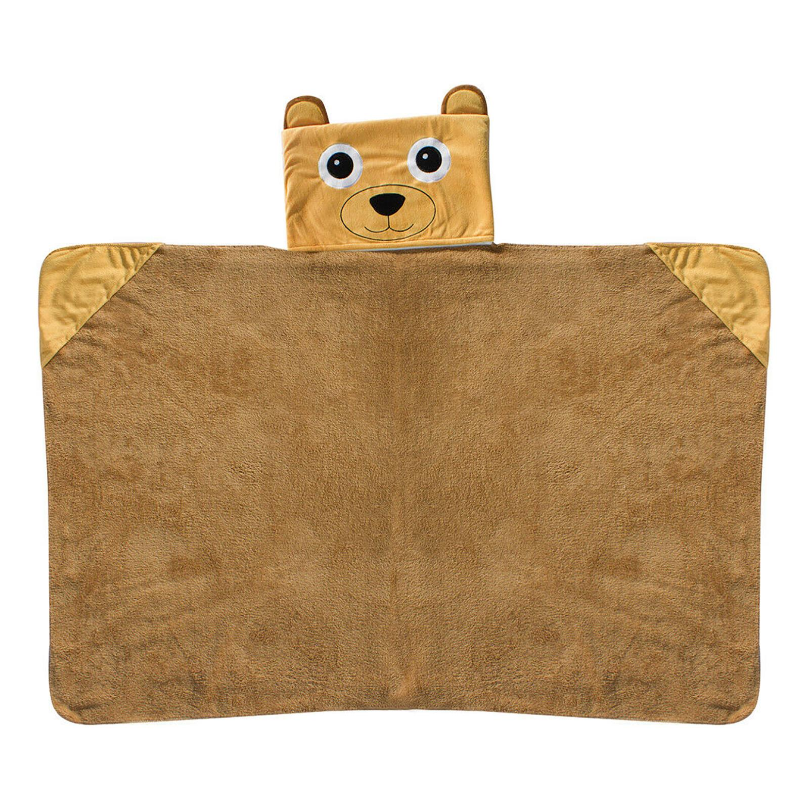 Kids Hooded Cuddle Blanket Changeable Fleece Wrap Throw Pillow Cushion Bear//Cat