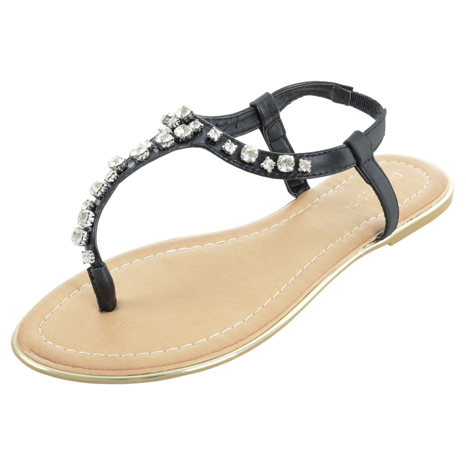 Pia Rossini Womens Sandals Slip On Flat Summer Beach Holiday Diamante Ladies