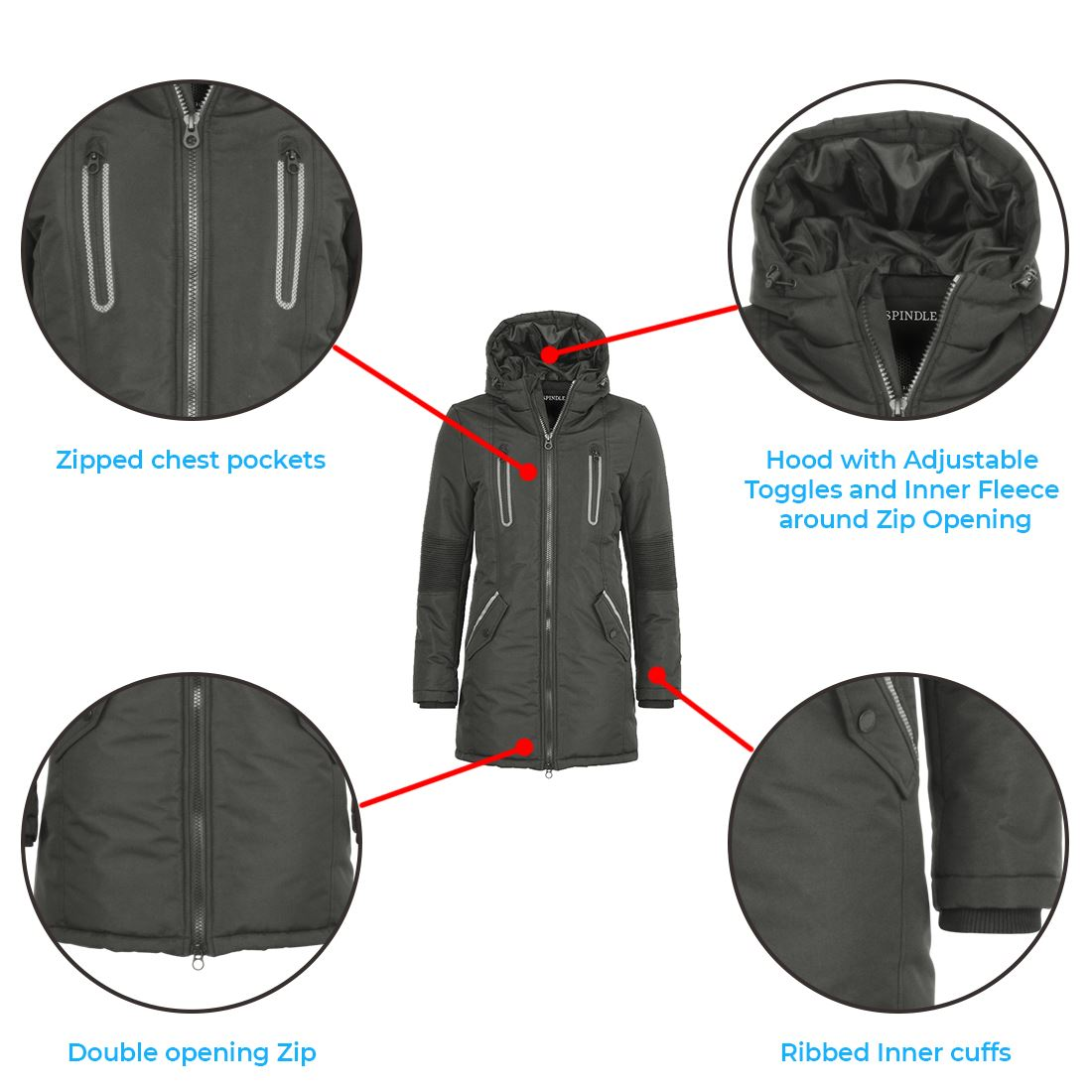 Boys Childrens Spindle Padded Winter Long Coat Jacket Youths School Zip Pockets