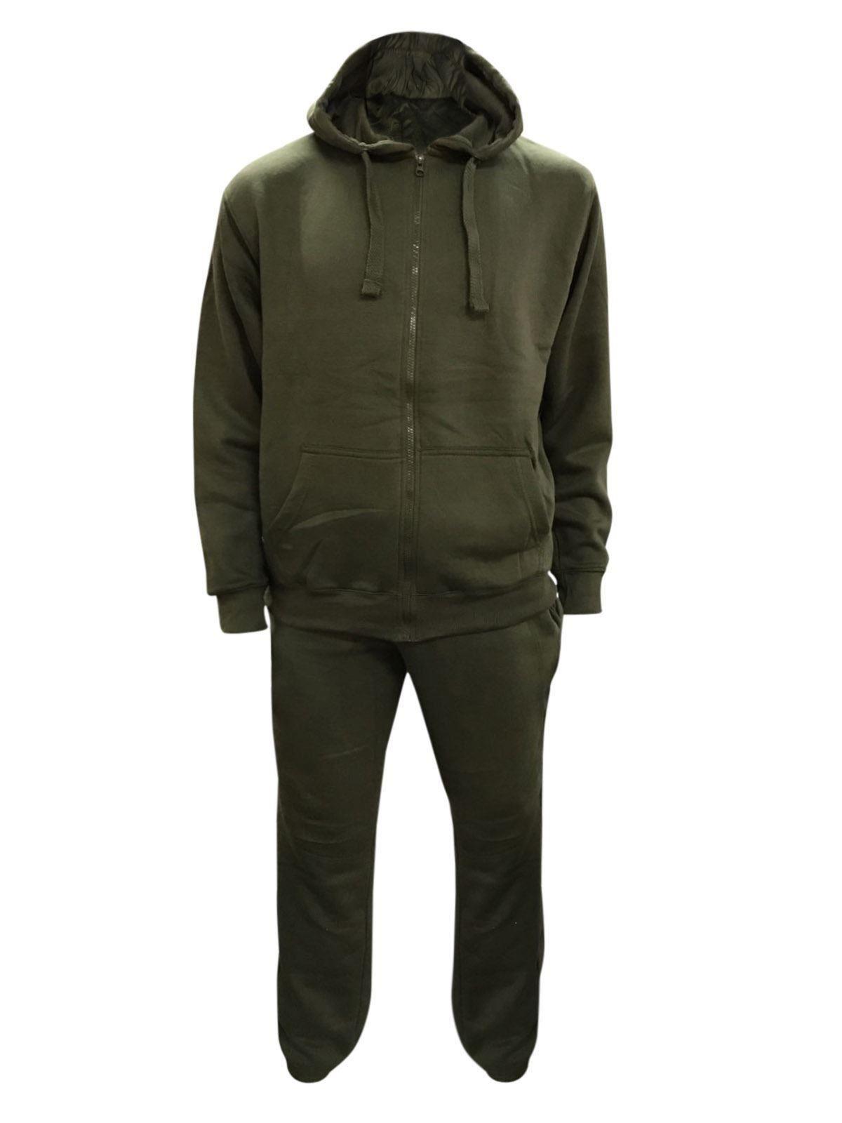 NEW Mens Plain Hooded Tracksuit Sweat Zip Top /& Jog Track Bottoms S M L XL