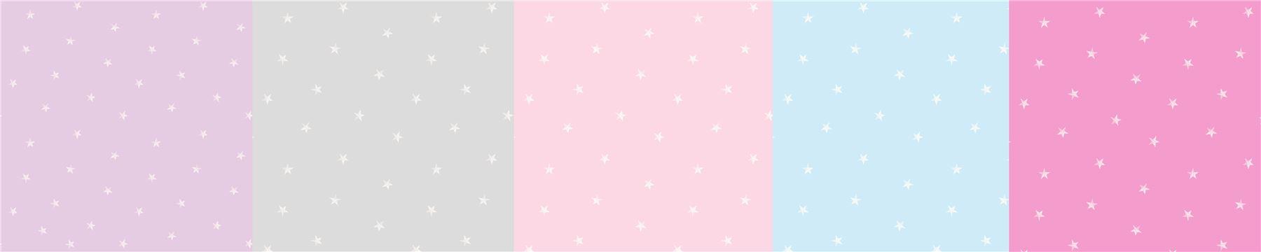 Pastel Blue Lilac Pink Grey White Stars Boys Girls Kids Nursery Baby Wallpaper