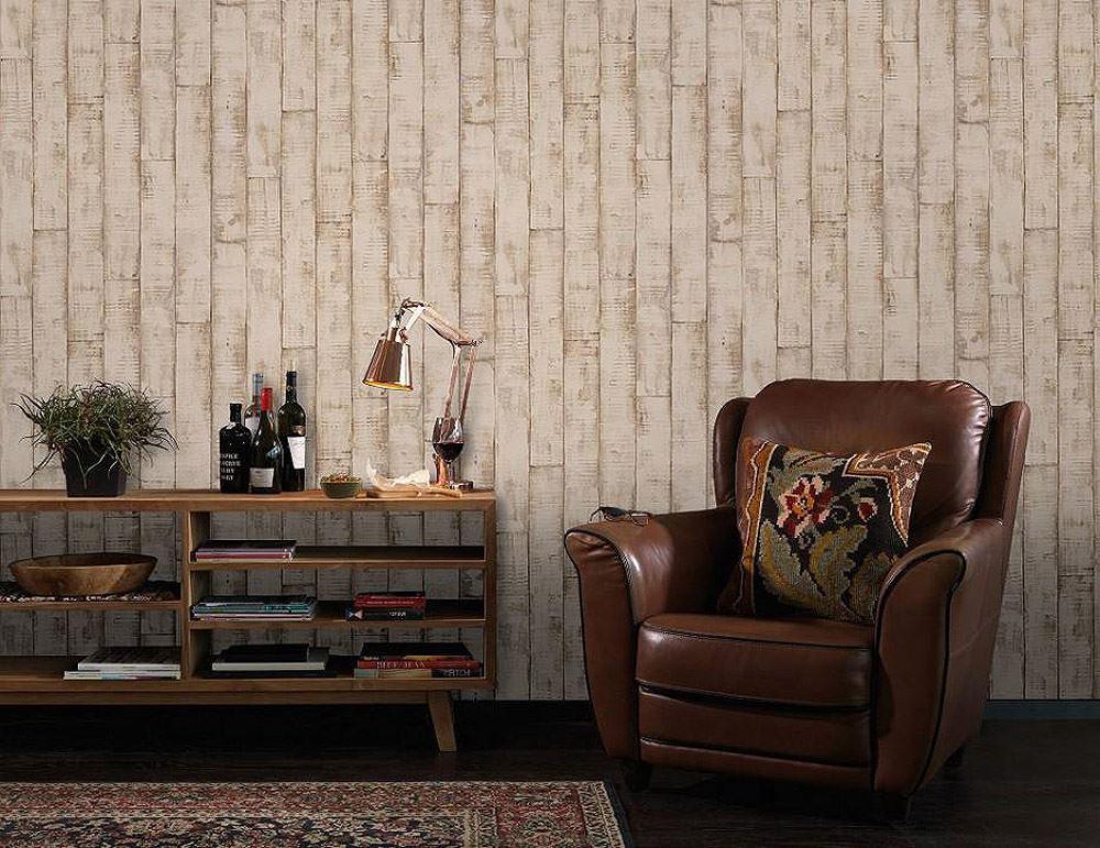 3D Bleached Wood Panel Typography Coffee Vinyl Wallpaper Beige Kitchen Bathroom