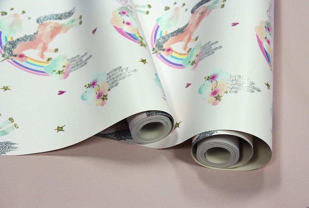 Girls Unicorn Wallpaper Children/'s Pink White Glitter Rainbow Floral Butterflies