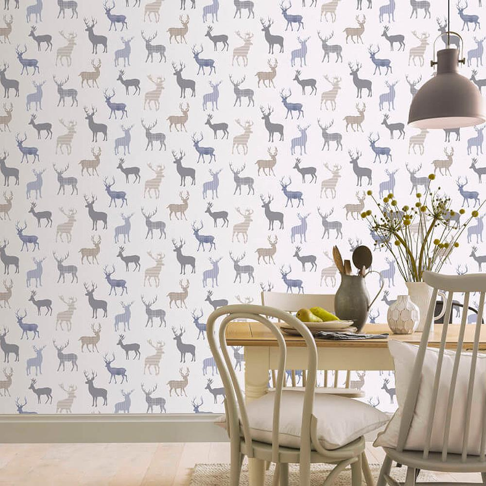 Country Check Stag Tartan Animal Print Wallpaper Woven Effect Blue Grey Red