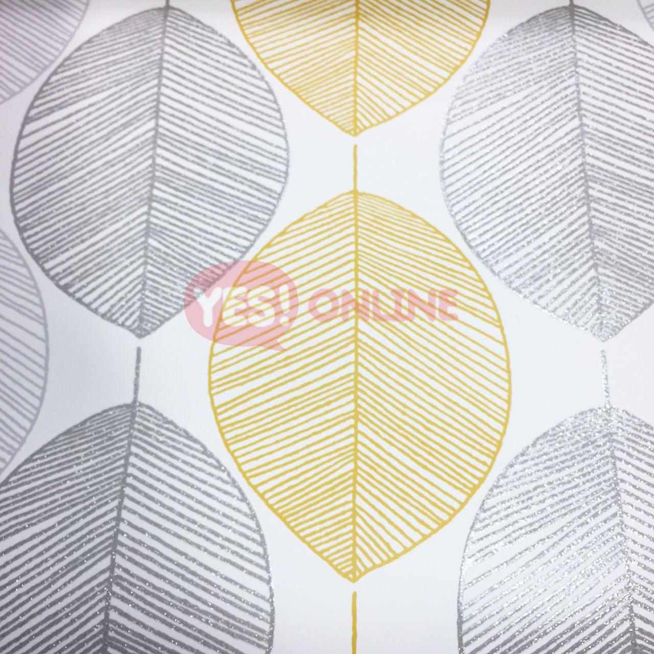 Yellow Floral Wallpaper Grey Mustard Leaf Birds Flowers Animal Print Glitter